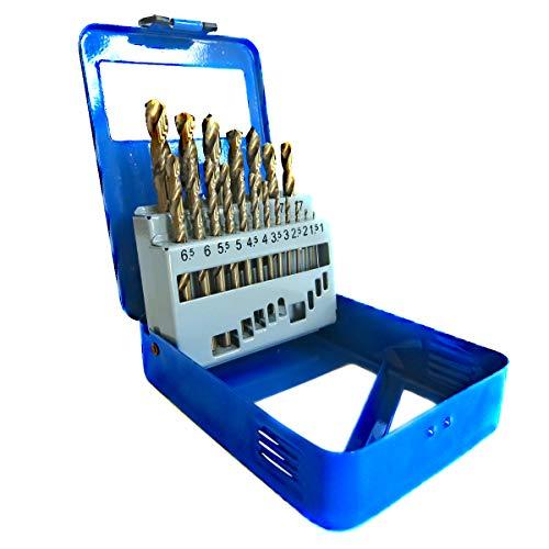 S&R Metallbohrer Set 1,0-10 mm, 19 Stk, DIN 338, HSS COBALT, Kobaltlegiert, Spitzenwinkel 135°, DIN 1412 C, geschliffen, Metallbox. Profi-Qualität