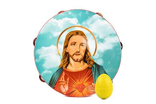 Erzmama Tamburin Jesus, 25cm mit Bonus-Eierschüttelpackung, einreihig, 6 Paar Metallschellen, Percussion Wood Instrument für die Religiöse Kirche