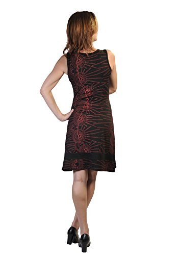 Ärmelloses Kleid mit Ethnic Print All Over. Schwarz
