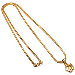 Jewar Mandi Gold Plated Om ohm locket chain 24 inch god real look 7707 for Men Women girls