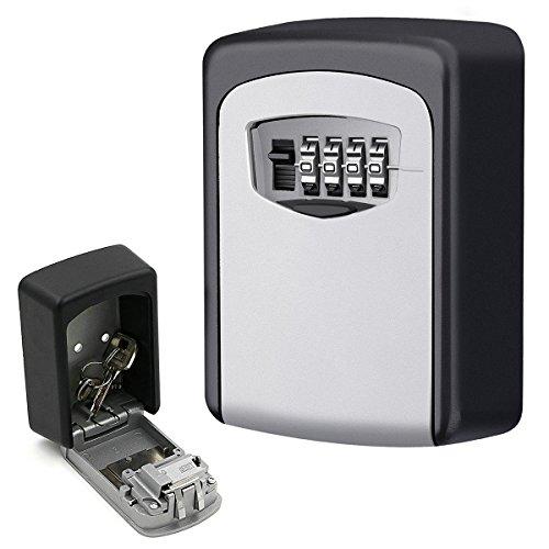 Lock Box, an der Wand montiert Key Lock Box Keeper, sichere Aufbewahrung Box der mit 4stellige Kombination, wetterfeste Key Box Halter Fall für Innen/Außen Teilen und sicherer Schlüssel, bis zu 5Schlüssel (Tür-zugangs-button)
