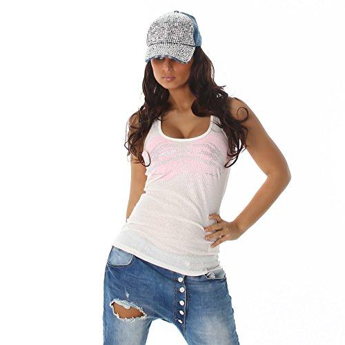Unbekannt Damen Top Shirt T-Shirt Rundhals Trägertop Skelett Handabdrücke Weiß