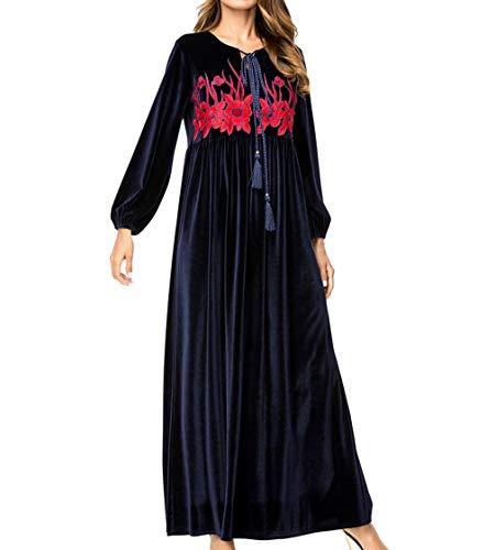 zhxinashu Islamisch Muslim Frau Tageskleider - Winter Stickerei Lange Ärmel Robe Ramadan Gebet Kostüm XL