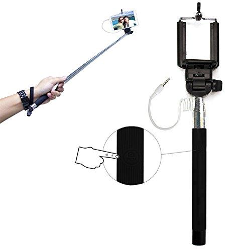 PCMOVILES -- Negro Selfie Stick / Palo para Selfies extensible con cable para...