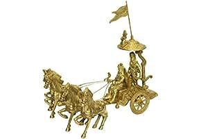 Brass Lord Krishna & Arjun Rath Chariot,Handicrafts Horse cart,Miniatures