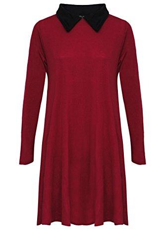 Damen Swing-Kleid Bubikragen Lange Ärmel Skater ausgestellt Rot - Weinfarben