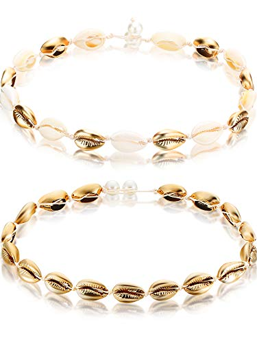 2 Stücke Natürliche Shell Choker Halskette Hawaii Sea Beach Muschel Choker Cowrie Shell Halskette Set Sommer Shell Perlen Choker für Frauen Mädchen (Gold und Goldweiß)