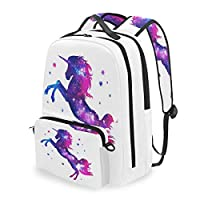 QMIN Backpack Galaxy Animal Unicorn Pattern Detachable School Bookbag Travel College Daypack Zipper Strap Bag Organiser for Boys Girls Women Men