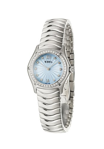 Ebel Classic Wave Light Blue Dial Stainless Steel Diamond Ladies Watch 9090F24-24725