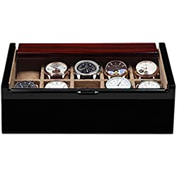 portaorologi Luxwinder Solid Wood Box Case Box for 10 Watches Box