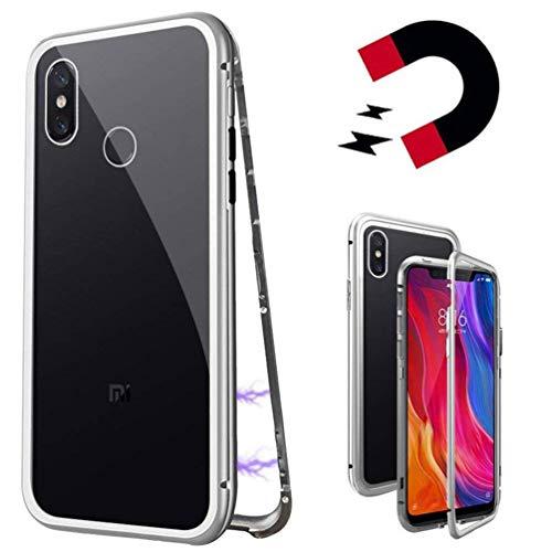 Coque pour Xiaomi Mi 8 Se, Coollee Coque D'adsorption Magnétique Cadre Métallique Ultra Fin Verre Trempé avec Couvercle à Aimant intégré pour Xiaomi Mi 8 Se [Il prend en charge la recharge sans fil], Argenté