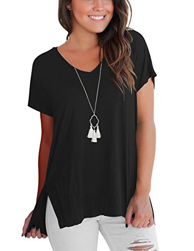 DJT Women's Short Sleeve High Low Loose T Shirt Basic Tee Tops with Side Split