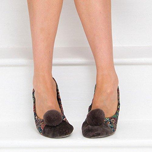 Ballerinas Olive (Bedroom Athletics Melissa Paisley Print Hausschuhe olive: Größe M)