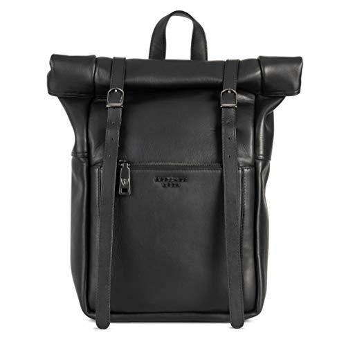 Berliner Bags Luxus Rucksack Lille aus echtes Vollnarbiges Leder mit 15 Zoll Laptopfach Hochwertig Kurierrucksack Fahrradrucksack Wasserdicht Damen Herren Schwarz Groß L