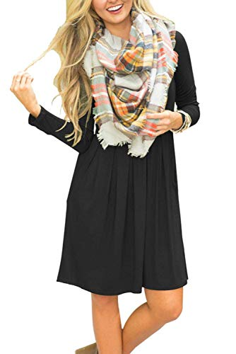 Damen Kleid Langarm Casual Lose Swing Minikleid T-Shirt Kleid Mit Taschen