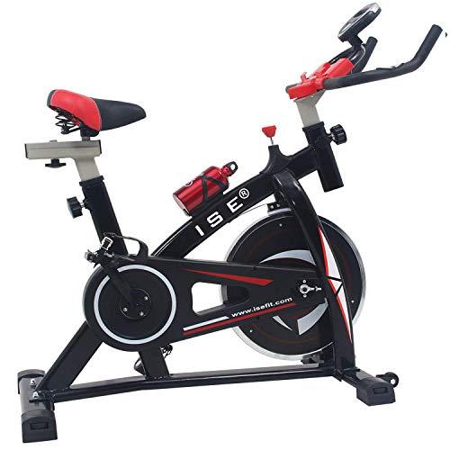 ISE Profi Indoor Cycle Ergometer Heimtrainer mit LCD Anzeige,Armauflage,Pulsgurt&gepolsterte,8kg Schwungrad,Fitnessbike Speedbike mit flüsterleise Riemenantrieb-Fahrrad Ergometer bis 135Kg SY-7802