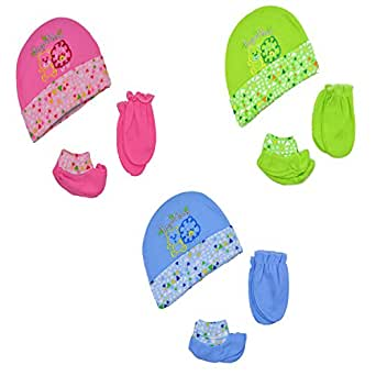 Baby Bucket Premium Quality Light Weight Regular Fit Hosiery Material Stretchable Together Baby Caps,Mittens and Booties Set (BL & PNK & GRN)
