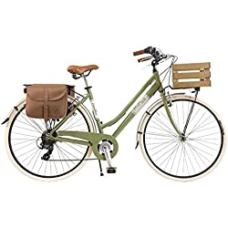 Via Veneto by Canellini Bicicleta Bici Citybike CTB Mujer Vintage Retro Via Veneto Aluminio con Cajita (Vert, 46)