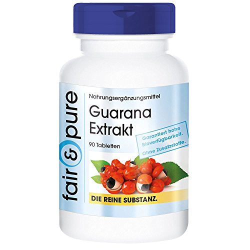 Guarana Extrakt 300mg (4:1) aus 1200mg Guarana, vegan, 90 Guarana-Tabletten, enthält Koffein, schonende Alternative zu Kaffee