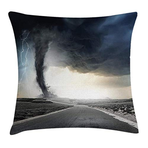 Nature Throw Pillow Cushion Cover, Black Tornado Funnel Gas and Lightning Rolling on The Road Fume Disaster Monochrome Print, Decorative Square Accent Pillow Case, 18 X 18 inches, Grey -