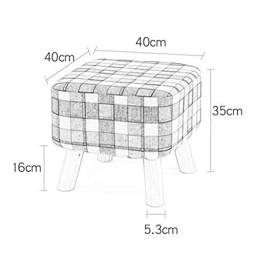 Big Square Foot Hocker Hocker Ottomane Textil Leinen Puff Polster Sofa Abnehmbarer und waschbarer Bezug 100kg-Tragfähigkeit (40 × 35cm) 4 Beine Blau kariert