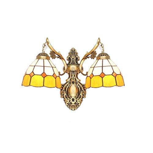 Wandleuchte,Sccarlettly Tiffany Stil Wandleuchte Retro Doppel Leuchten Schmiedeeisen Glas Schlafzimmer Nachttisch Beleuchtung Bar Wohnzimmer Spiegel Scheinwerfer Korridor Treppe Konsole Wandleuchte -
