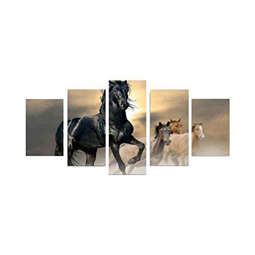 Babysbreath17 5 Pannelli Diversi Cavalli al Galoppo Modelli semplici Colori Quadri Senza Cornice Olio su Tela Stampata Disegni L: 30 * 40cm, 30 * 60cm, 30 * 80cm