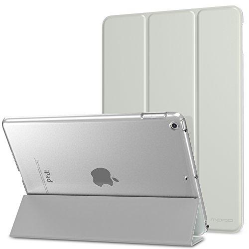 MoKo Hülle iPad 9.7 Zoll 2017 - PU Leder Tasche Schutzhülle Schale Smart Case mit Translucent Rücken Deckel, mit Auto Schlaf/Wach Funktion und Stanfunktion, Silber