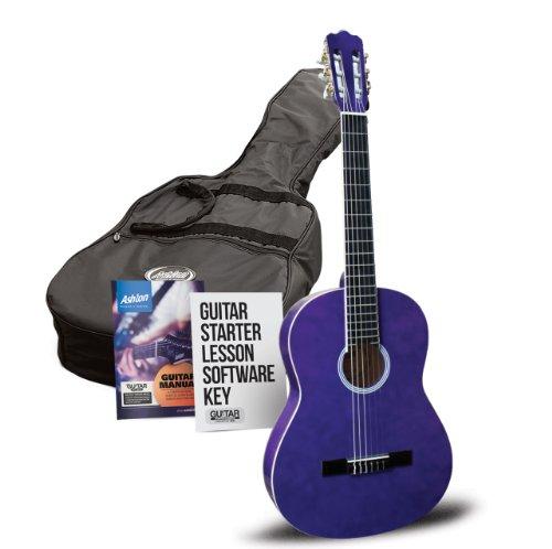 Ashton Klassische Gitarre mit Accessoires 1/4-Größe, klassisch violett (Dreadnought Acoustic Gitarre Pack)