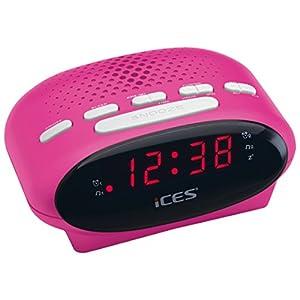 iCES ICR-210 Uhrenradio – Radiowecker mit 2 Weckzeiten – PLL FM – Schlummerfunktion – Sleeptimer – Gangreserve – blau…