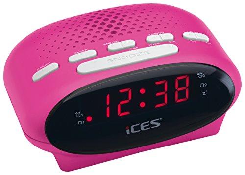 iCES ICR-210 Uhrenradio (2x Weckzeiten, Schlummerfunktion, Sleeptimer) pink