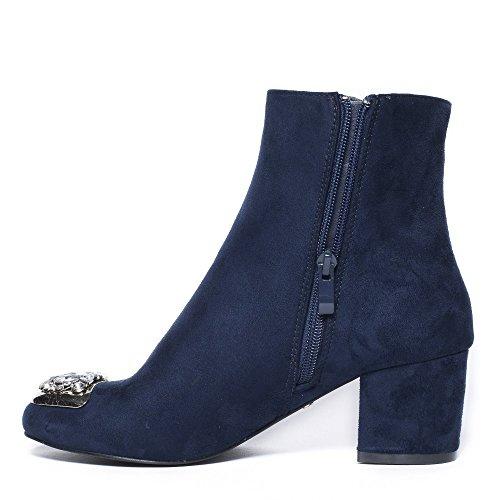 Ideal Shoes Bottines à Talon Carré Effet Daim et Incrustées de Strass Grace Marine