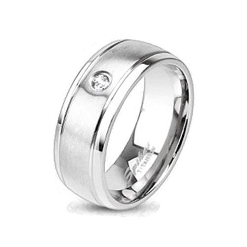 Paula & Fritz® Titan Ring silber Brushed Metall Zirkonia 57 (18) R-TM-3640-8 Zirkonia Ringe In Titan