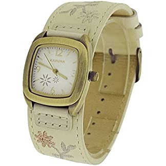 Reloj para Mujer Kahuna con Diseño Floral y Correa de Piel Color Crema KLS-0226L