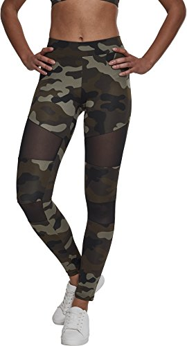 Urban Classics Ladies Camo Tech Mesh Sport Leggings, lange Damen Fitnesshose mit halbtransparenten Einsätzen - Farbe woodcamo/black, Größe L - Frauen Nylon Hose