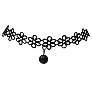 Streamline Black Lace Bead Pendant Choker Necklace For Women