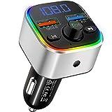 Clydek Trasmettitore FM con Bluetooth 5.0, Adattatore e Ricevitore Radio FM QC3.0, Kit Vivavoce per Auto Caricabatterie con Doppia Porta USB e Luce Colorita, Lettore Musicale Supporta USB  TF