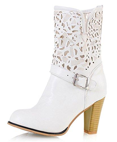 661464da0b YE Damen Herbst High Heels Cut Out Ankle Boots Stiefeletten mit Blockabsatz  Schnallen Schuhe Weiß