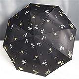 LYJZH Ombrelli Pieghevoli Ombrello Pieghevole Ombrello Anti-Pioggia Ombrello Manuale a Doppio Uso Ombrello Nero