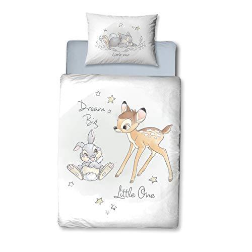 Bambi Parure de lit en Flanelle pour bébé 1 taie d'oreiller 40 x 60 cm + 1 Housse de Couette 100 x 135 cm