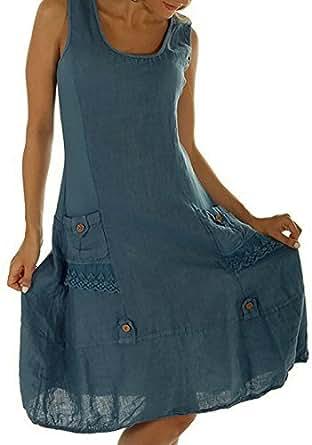 Flying Rabbit Women's Dresses Linen Sleeveless with Beautiful Details Summer Dress (s, blue)