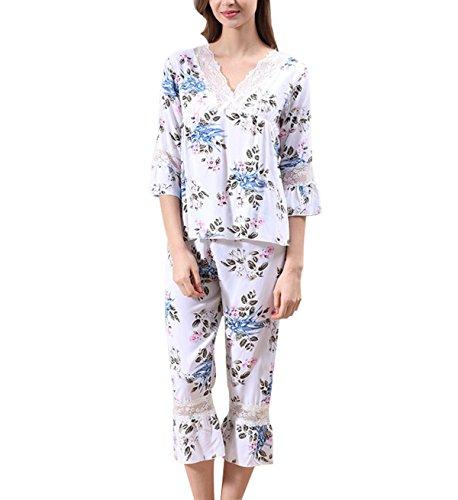 2017 Mme V-cou Dentelle De Coton Respirant Pyjama Deux Pièces white