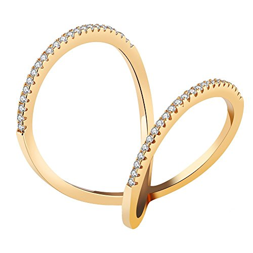 Onefeart placcato in oro anello per le donne ragazze rotondo zircon donne stile unico disegno fede nuziale oro dimensione 15