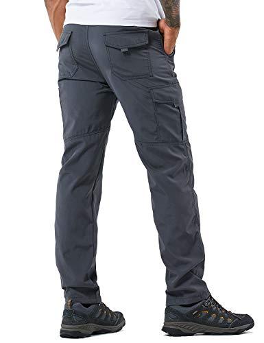 YAWHO Herren Wanderhose Outdoorhose Trekkinghose Softshellhose Funktionshose mit Gürtel/Schnell Trockend Wasserdicht Winddicht (Grey, L)