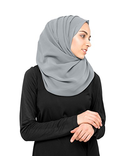 InEssence© New Monument Grey Pinless Georgette Ready to wear Scarf Regular Size...
