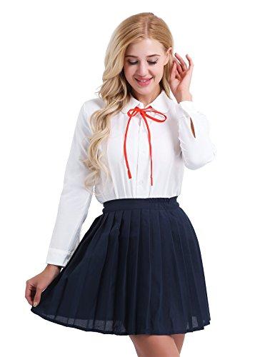 (iEFiEL Schulmädchen Kostüm Damen Anime Schule Uniform Lingerie Cosplay Kostüm Zu Karneval Fasching Kleid Outfits S-XXL Weiß & Marineblau Medium)