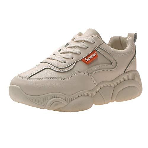 COZOCO Damenmode Bär unten im Freien Sportschuhe Mädchen Volltonfarbe Schnürschuhe Sneaker Outdoorschuhe Freizeitschuhe(beige,35)