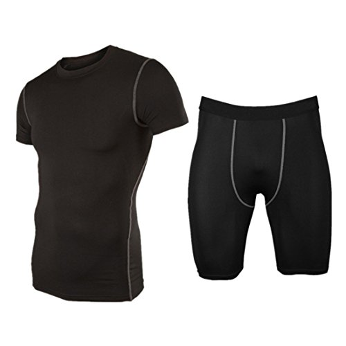 Men's Sports Compression Tights and Base Layer Set Black