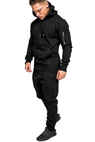 Amaci&Sons Herren Kontrast Sportanzug Jogginganzug Trainingsanzug Sporthose+Jacke 1006 Schwarz M