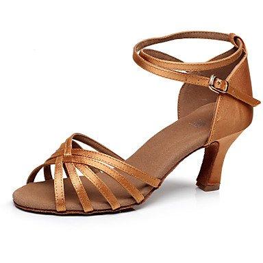 Silence @ pour femme Chaussures de danse latine/Salsa/Samba/piste de danse en satin Talon Noir/marron/multicolore Noir/doré